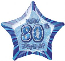 Blue Glitz 'Happy 80th Birthday' Foil Balloon